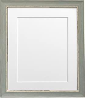 frames by post 12 x 10 inch nordic distressed picture photo frame with white mount