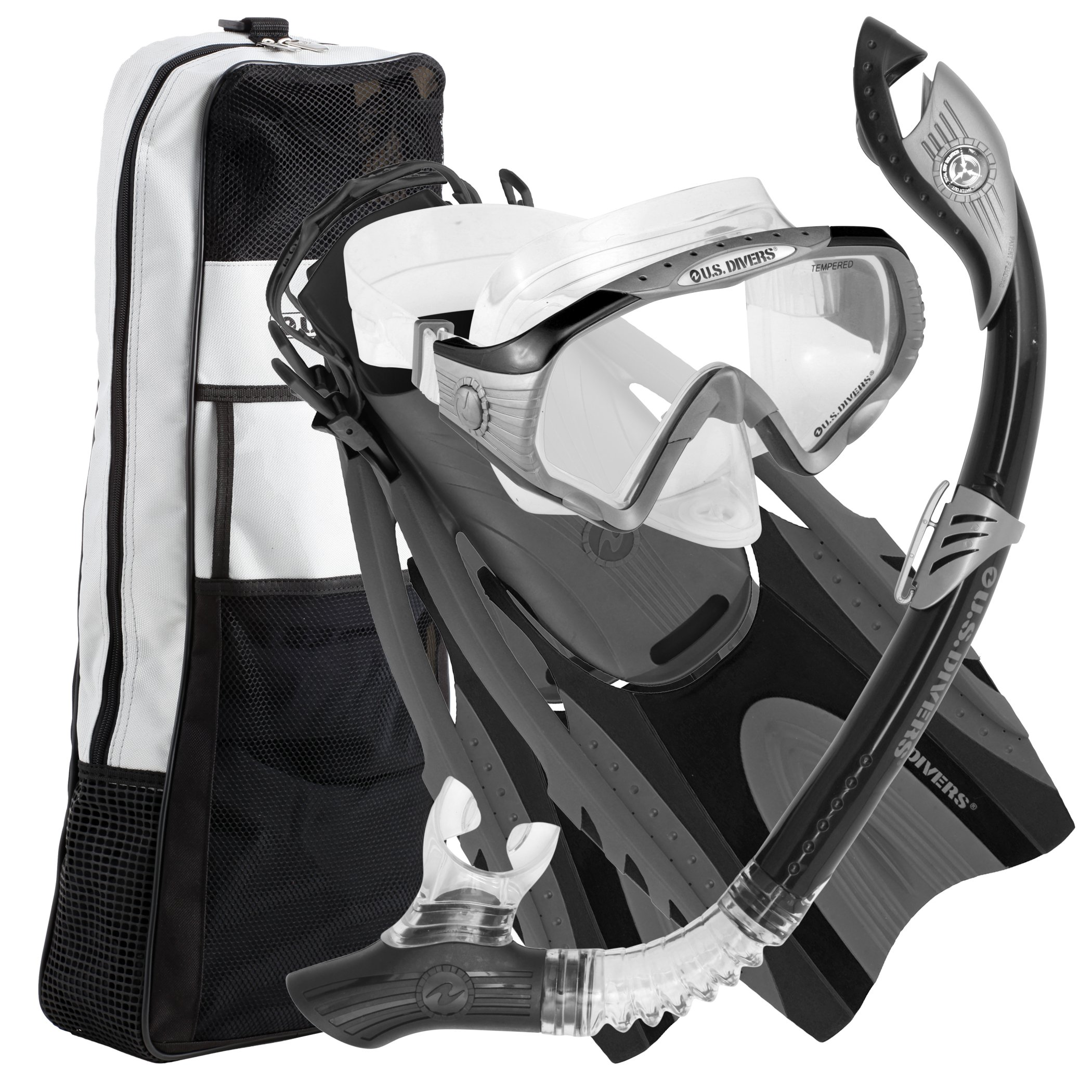 U.S. Divers Purge Mask, Hingeflex Fins, Dry Snorkel Set, with Snorkeling Gear Bag, BK-LG by U.S. Divers