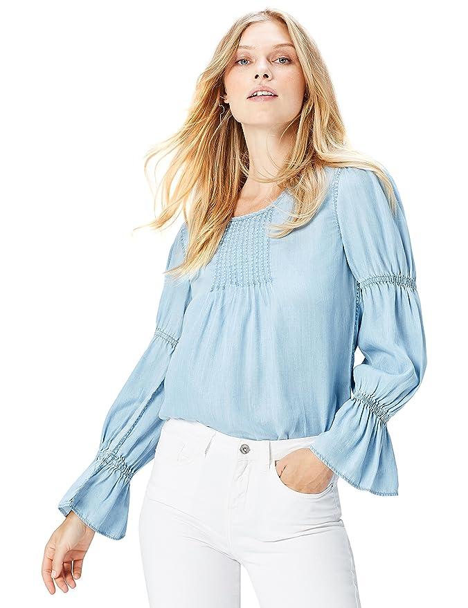 FIND Bluse Damen kastenförmige Silhouette und Ballonärmel, Blau ...