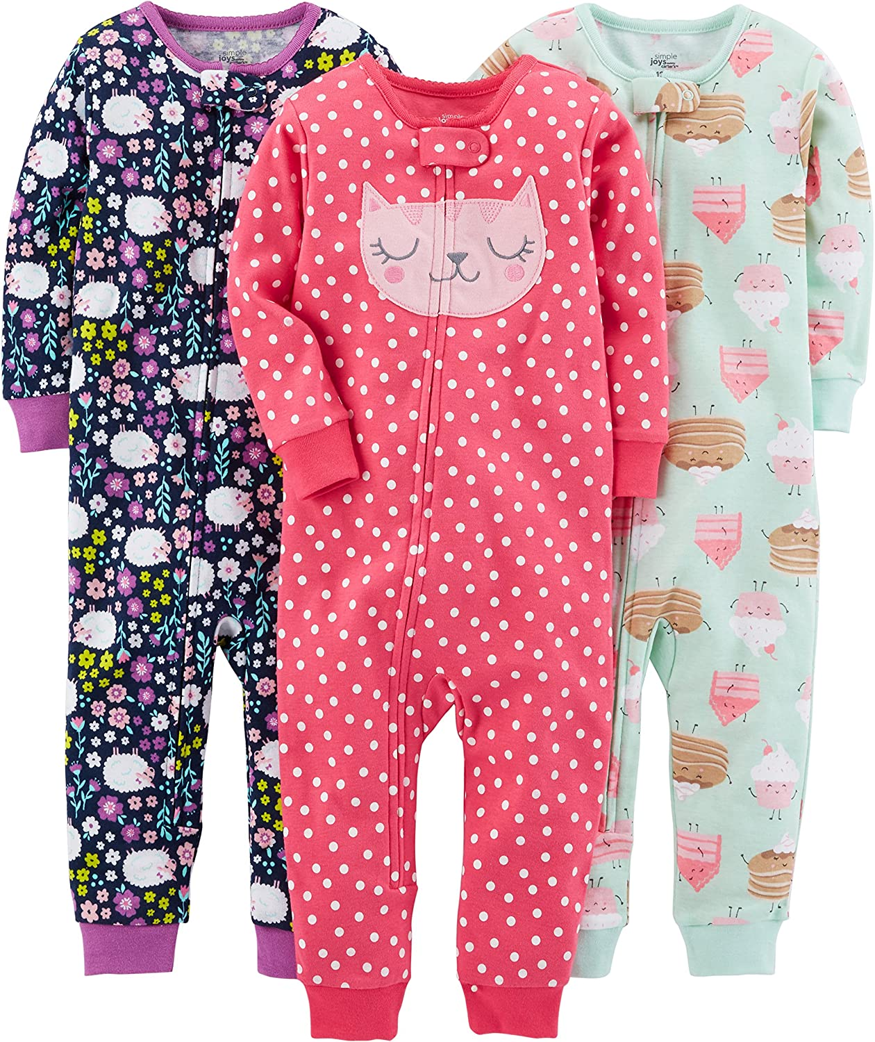 Simple Joys by Carters baby-girls 3-Pack Snug Fit Footless Cotton Pajamas Pajama Set