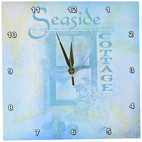 3dRose DPP_79347_1 Window by The Sea with Shells and Starfish- Beach Theme-Wall Clock, 10 by 10-Inch