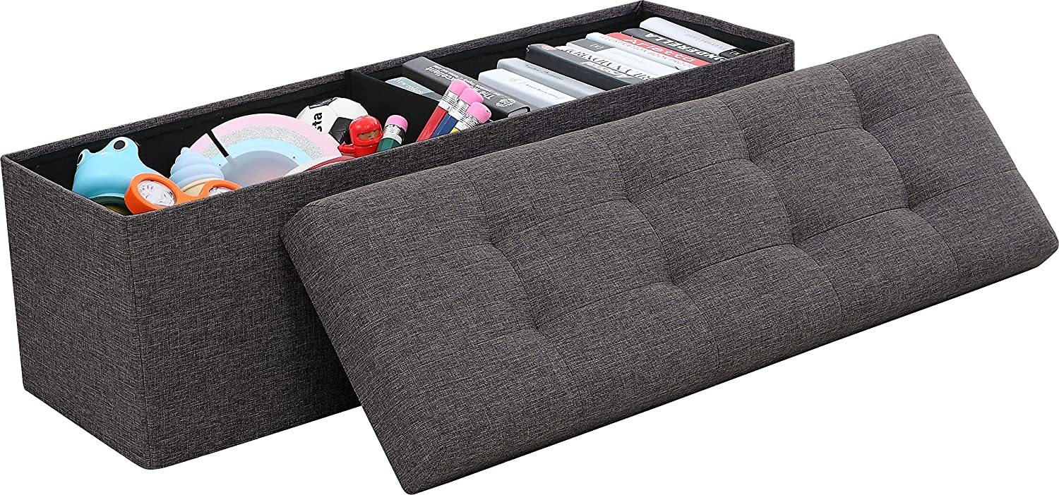 """Ornavo Home Foldable Tufted Linen Large Storage Ottoman Bench Foot Rest Stool/Seat - 15"""" x 45"""" x 15"""" (Charcoal): Kitchen & Dining"""