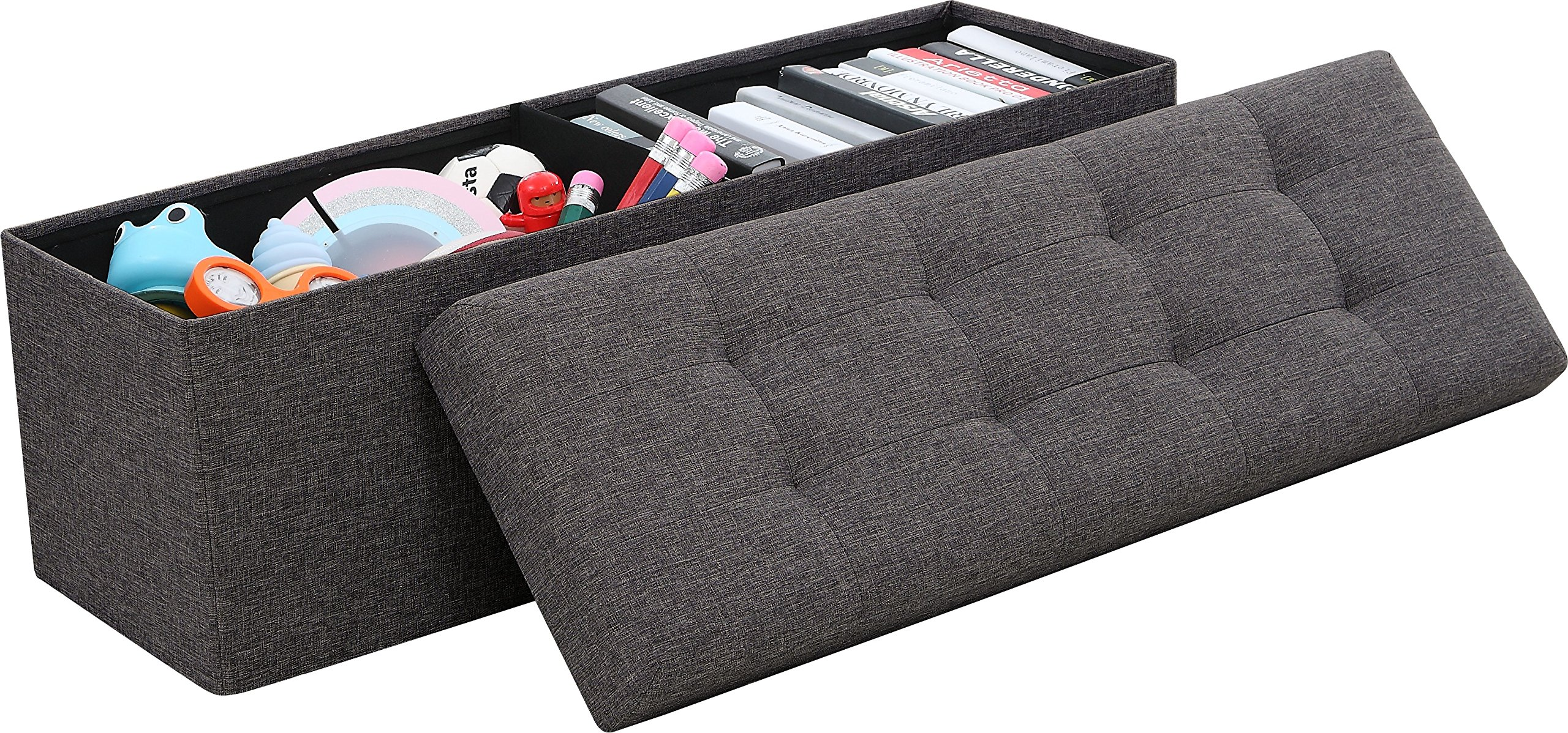 Ornavo Home  Foldable Tufted Linen Large Storage Ottoman Bench Foot Rest Stool/Seat - 15'' x 45'' x 15'' (Charcoal) by Ornavo Home