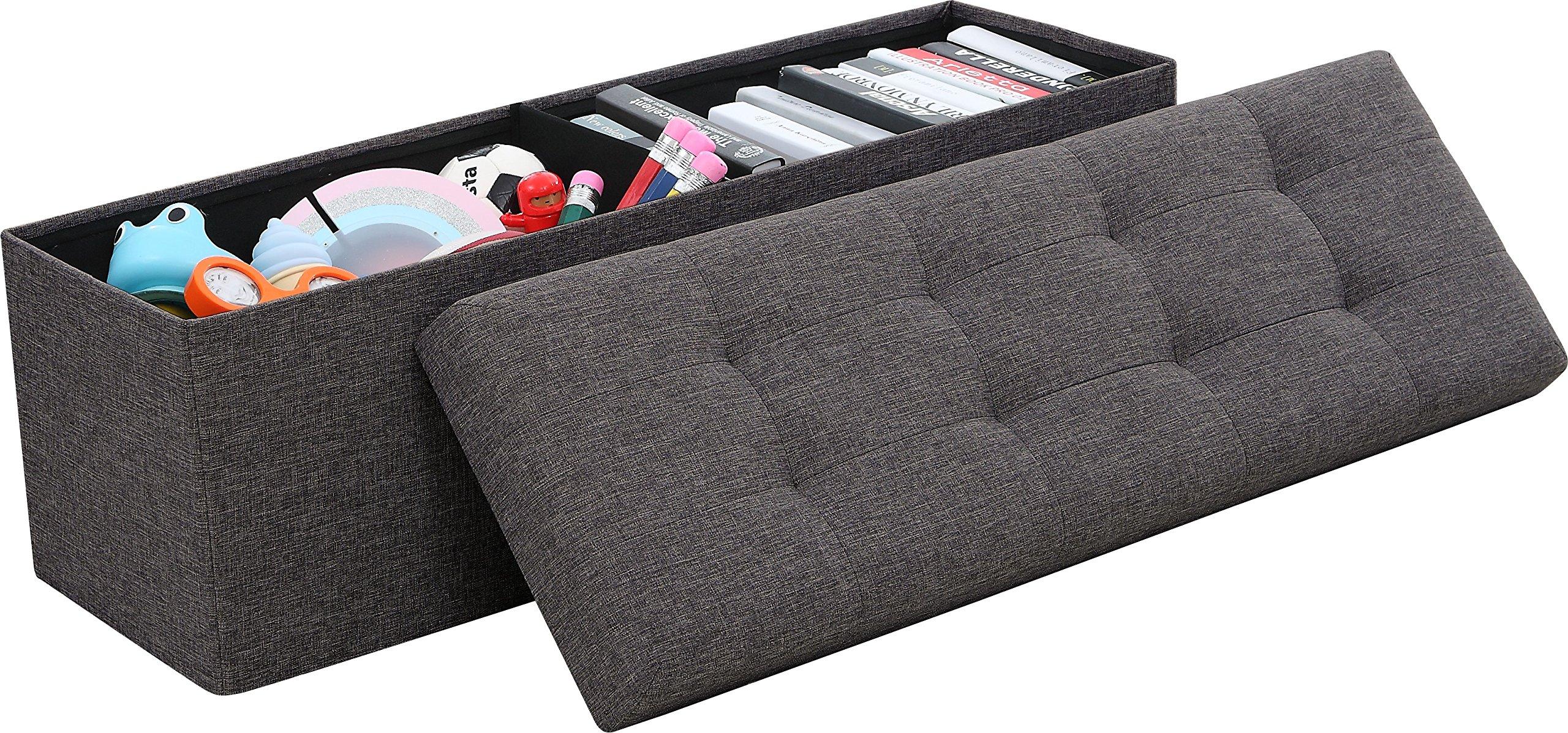 Ellington Home Foldable Tufted Linen Large Storage Ottoman Bench Foot Rest Stool/Seat - 15'' x 45'' x 15'' (Charcoal) by Ellington Home
