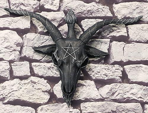 Ebros Large 18.5″Wide Faux Stone Satanic Sabbatic Goat Of Mendes Baphomet Skull Head