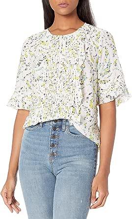 Lucky Brand Women's Short Sleeve Crew Neck Skylar Pintuck Top