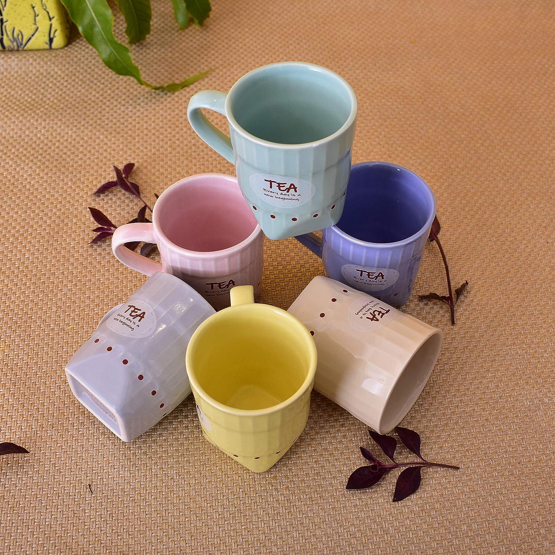 KunhaR Ceramic Multicolor Tea Cup, Frontier Design Tea Cup (150 Ml Set of 6)