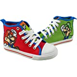 Super Mario Brothers Mario and Luigi Kids Shoe, Nintendo Hi Top Tennis Shoes Sneaker with Laces,Toddlers and Kids, size…