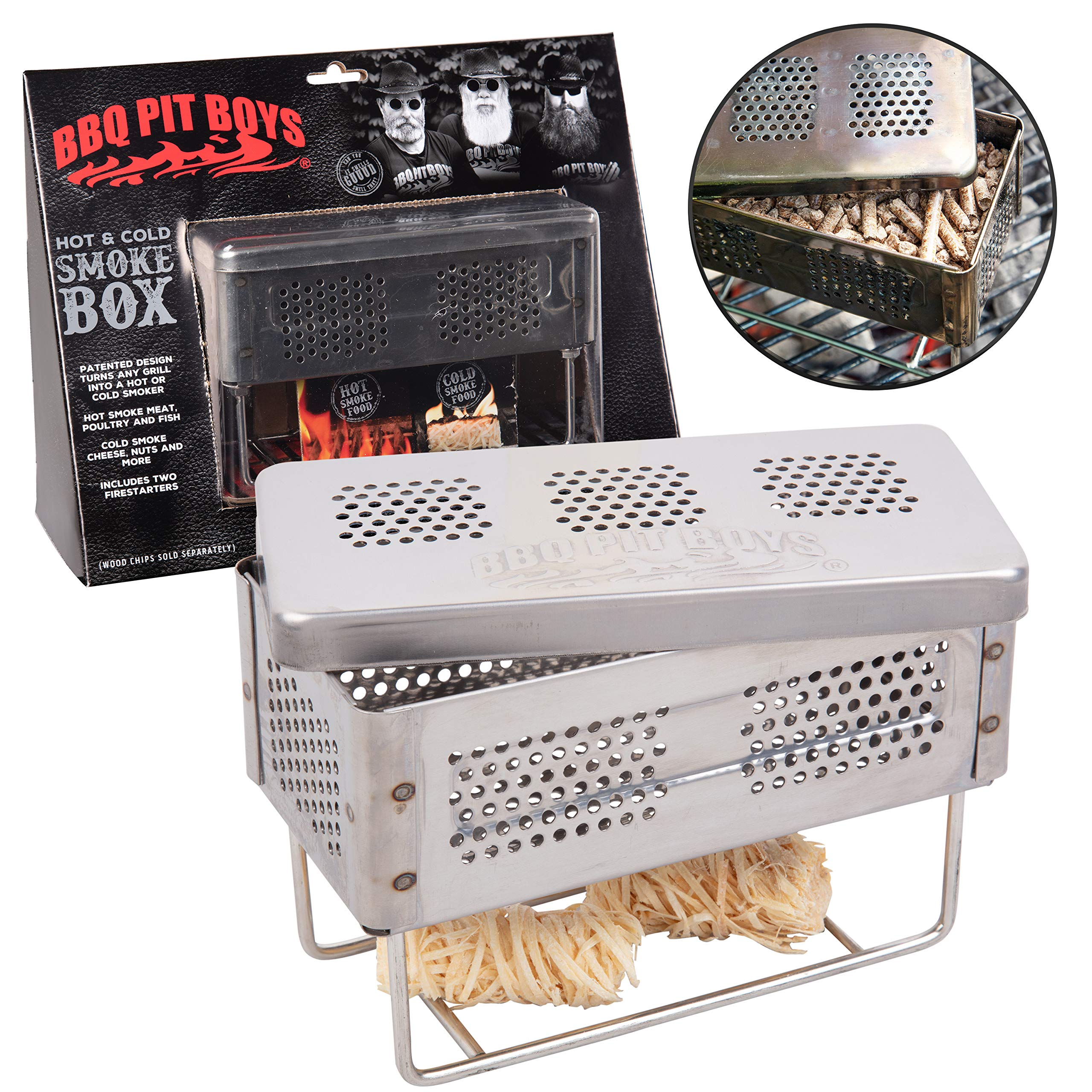 BBQ Pit Boys Smoker Box for Hot and Cold Smoke - Stainless Steel Barbecue Smoke Box Includes 2 Fire Starters - Easily Infuse Smoky Flavor with Your Grill On or Off by BBQ Pit Boys