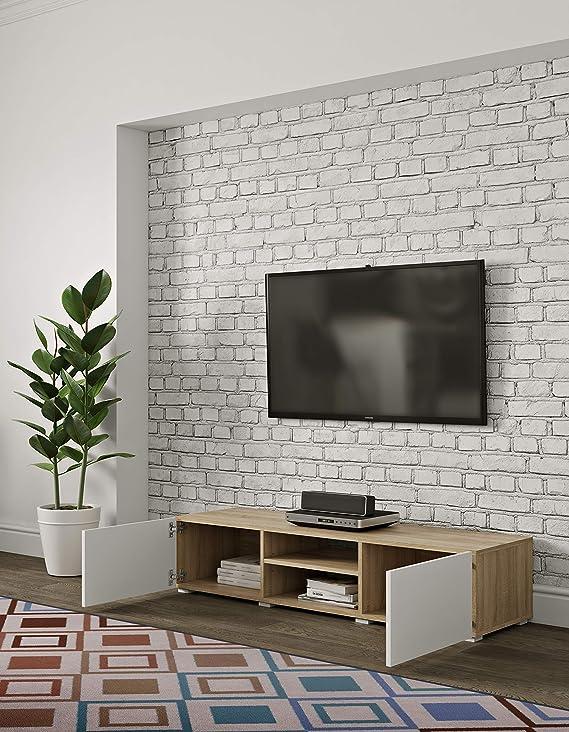 temahome Podium Mueble para TV, Rojas, Melamina, Roble y Blanco, 140 x 42 x 31 cm (l-p-a): Amazon.es: Hogar