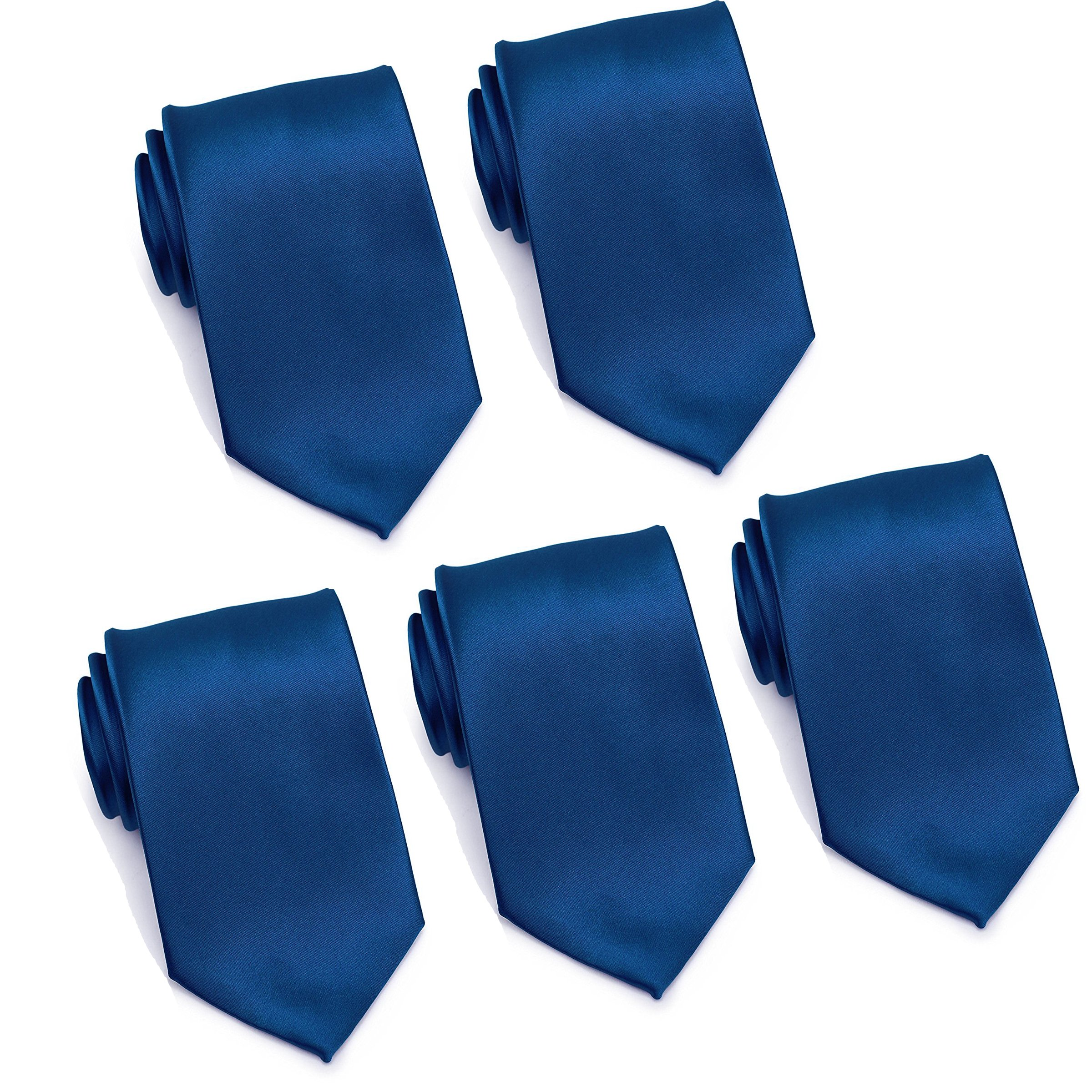 Mens Formal Tie Wholesale Lot of 5 Mens Solid Color Wedding Ties 3.5'' Satin Finish (Navy Blue)