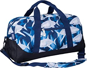 Wildkin Kids Overnighter Duffel Bag for Boys and Girls, Carry-On Size and Perfect for After-School Practice or Weekend Overnight Travel, Measures 18x9x9 Inches, BPA-free, Olive Kids (Sharks)