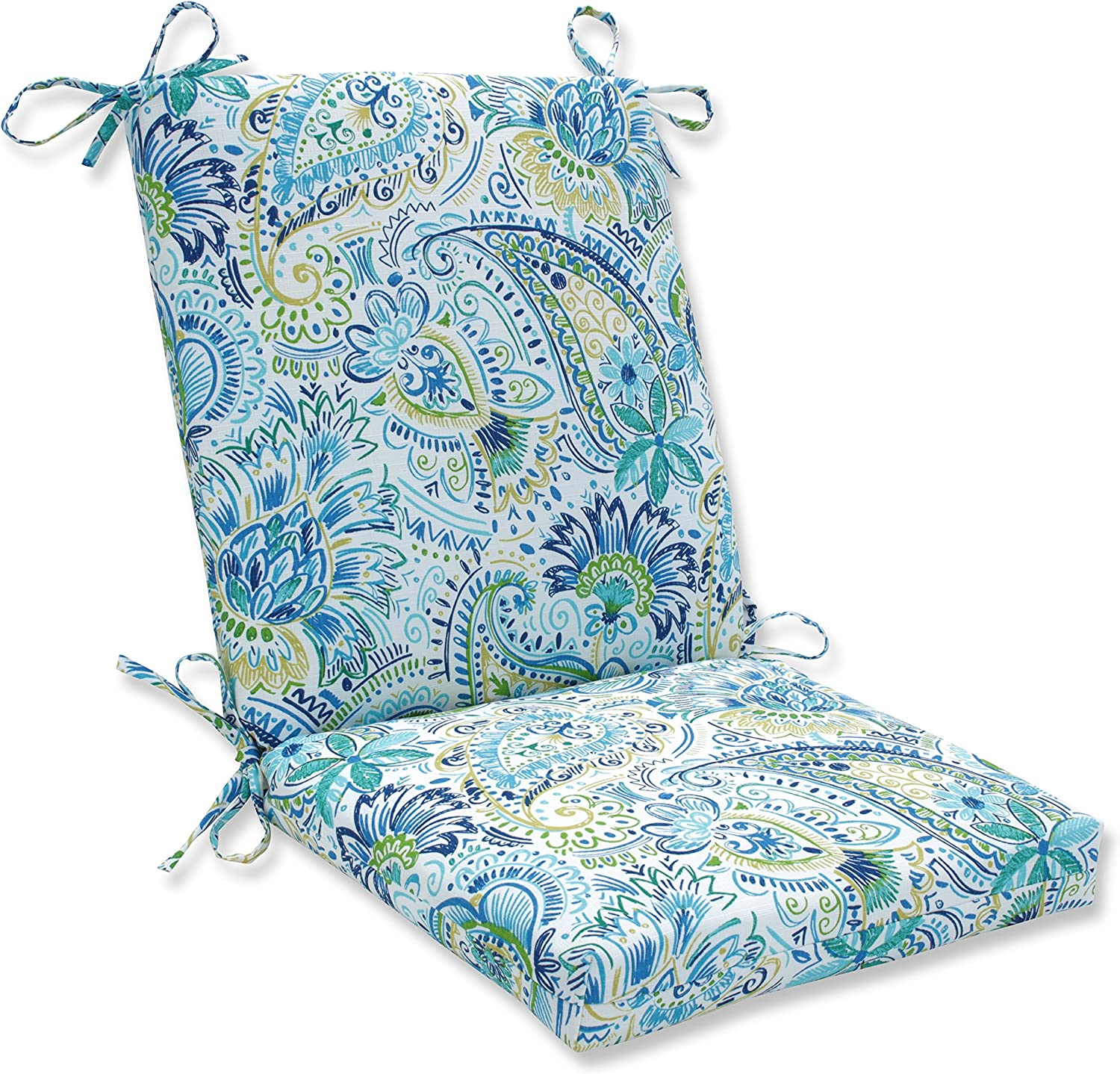 """Pillow Perfect Outdoor/Indoor Gilford Baltic Square Corner Chair Cushion, 36.5"""" x 18"""", Blue: Home & Kitchen"""