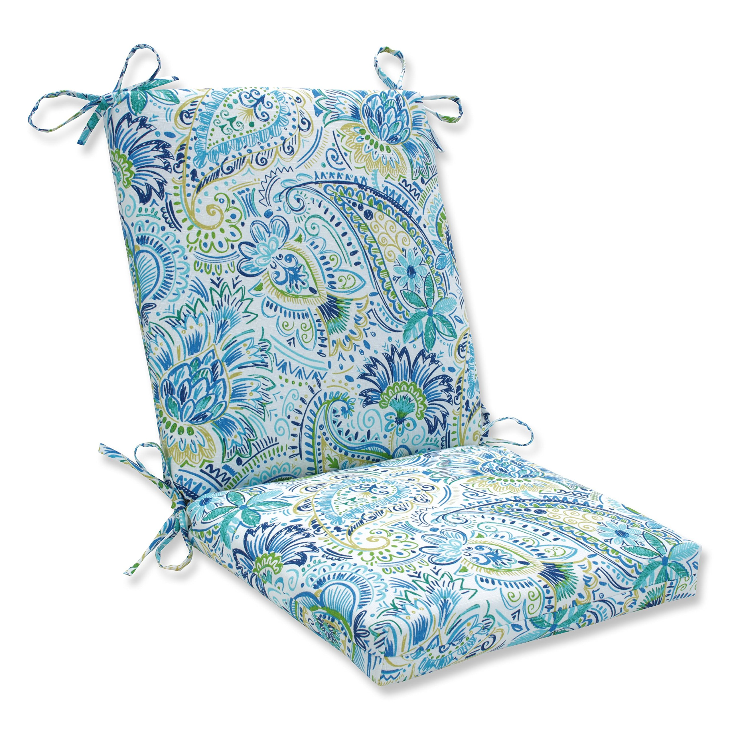 Pillow Perfect Outdoor | Indoor Gilford Baltic Squared Corners Chair Cushion by Pillow Perfect