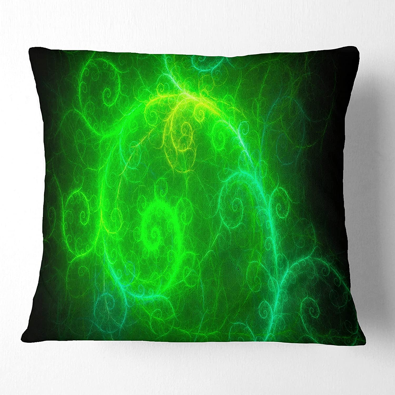 Sofa Throw Pillow 26 in in Designart CU15845-26-26 Beautiful Green Pattern on Black Abstract Cushion Cover for Living Room x 26 in