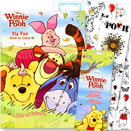 Winnie The Pooh Coloring Book with Winnie The Pooh Stickers