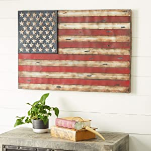 "38"" x 26"" American Flag Rustic Wall Art,Wrought Iron Wall Decor"