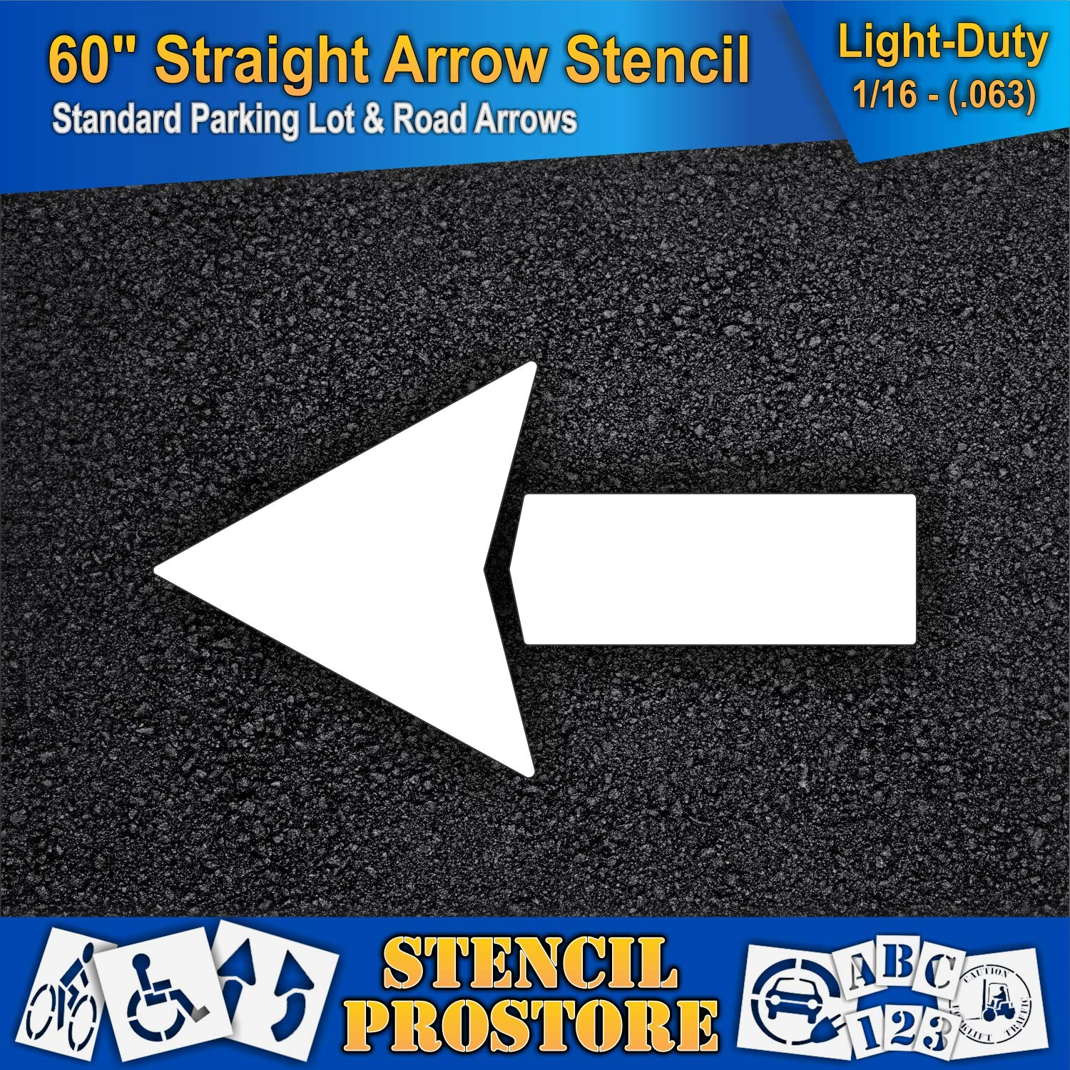 Parking Lot Stencils - 60 inch - Straight Arrow Stencil - 60'' x 33'' with 12'' Wide Tail Stroke - 1/16'' (63 mil) - Light-Duty by Stencil ProStore