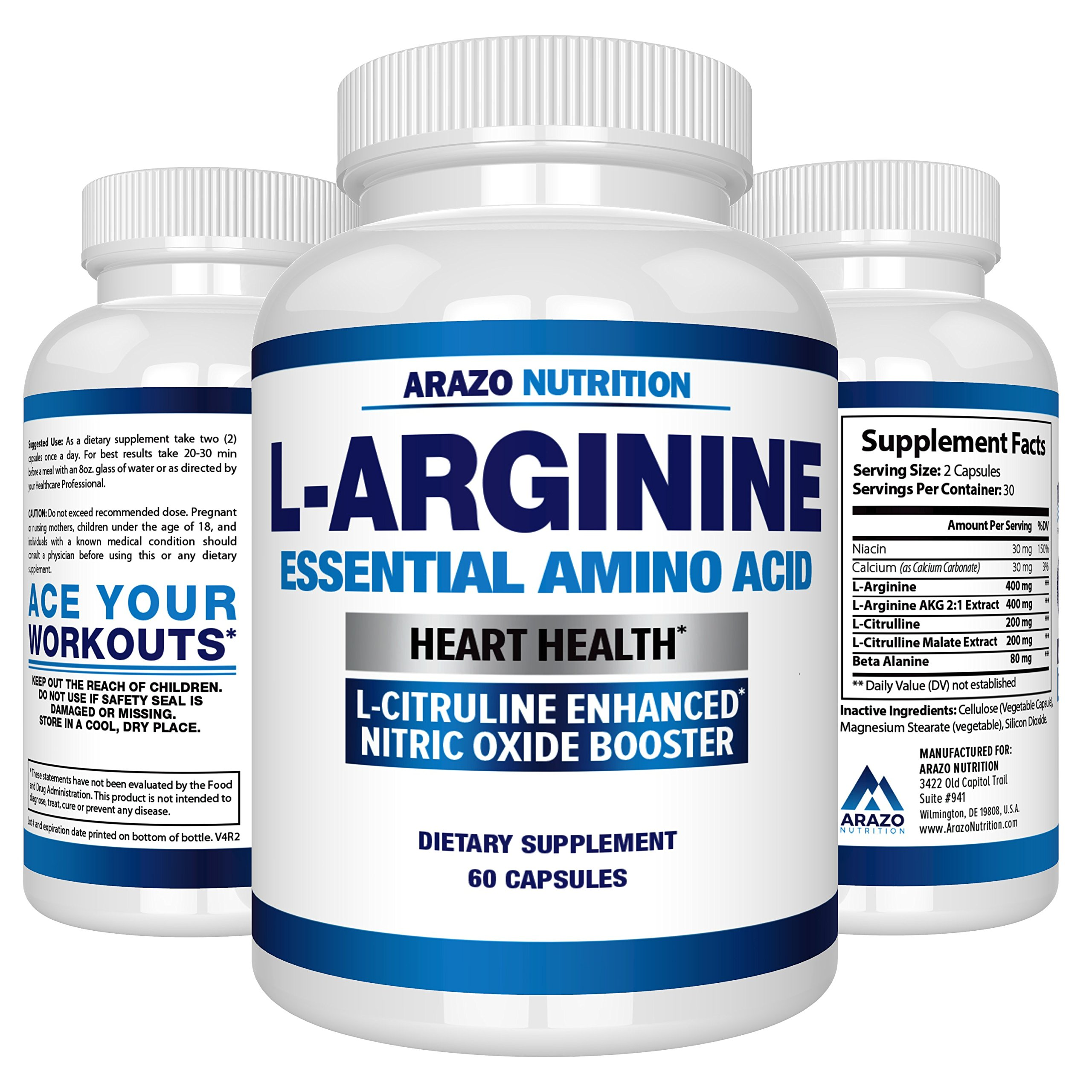 Premium L Arginine - 1340mg Nitric Oxide Booster with L-Citrulline & Essential Amino Acids for Heart and Muscle Gain - NO Boost Supplement for Endurance and Energy - 60 Capsules by Arazo Nutrition