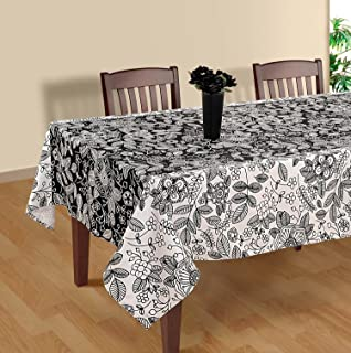 Black And White Modern Floral Square Tablecloth   60 X 60 Inch Polysateen  Digitally Printed Table
