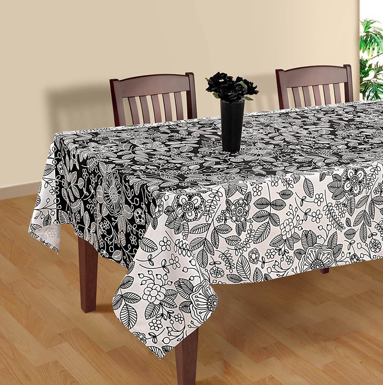 Amazon.com: Black And White Modern Floral Rectangular Tablecloth   60 X 120  Inches Cotton Table Cloth Cover For Tables: Home U0026 Kitchen