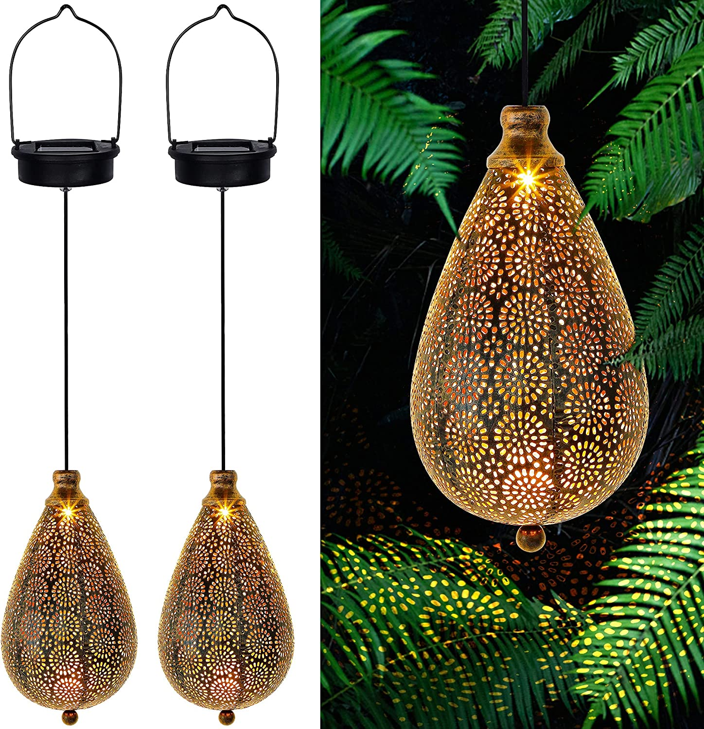 MAGGIFT 2 Pack Solar Hanging Lights, Solar Powered Decorative Retro Lantern with Handle, Warm White LED Garden Boho Flower Lights, Metal Drop Shape Lamp Waterproof for Outdoor Yard Tree Fence Patio