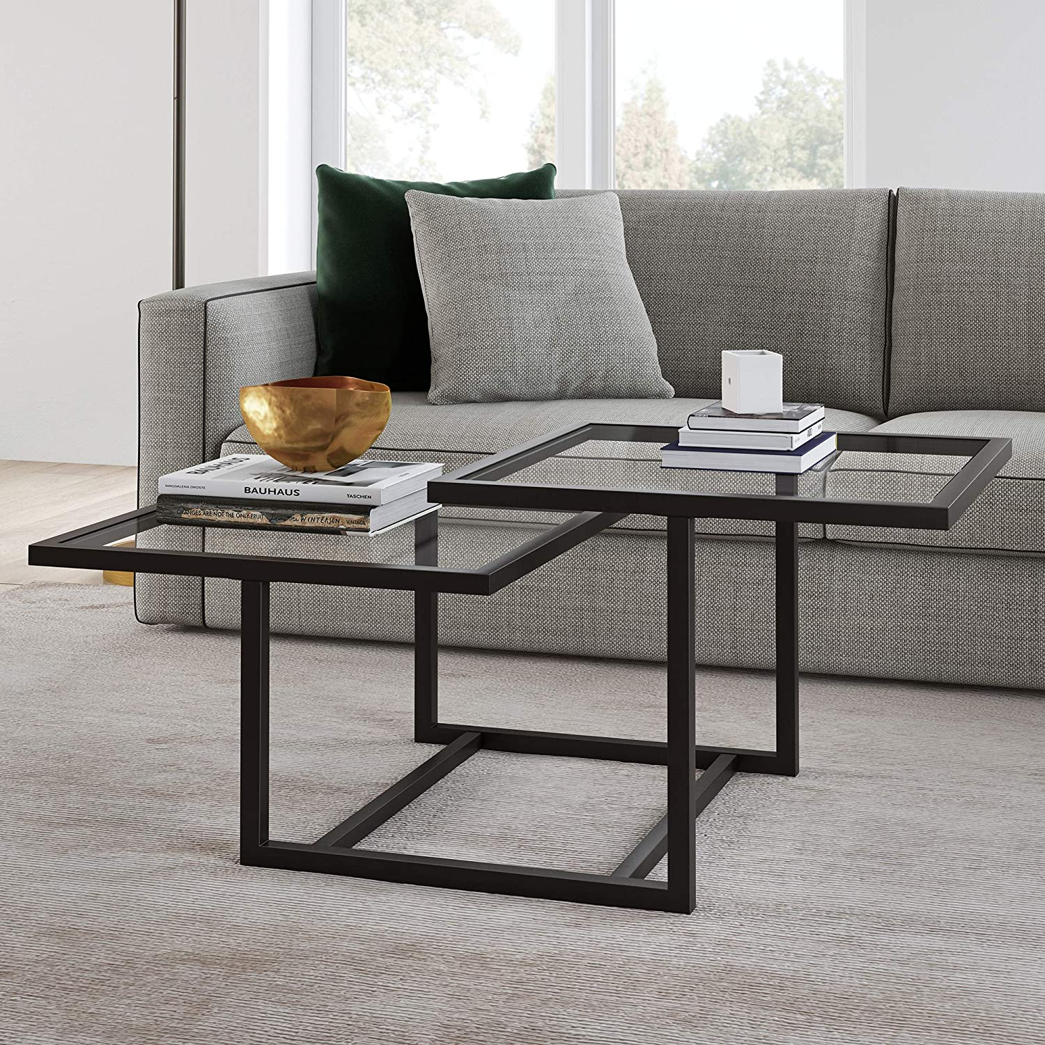 Henn&Hart Modern Chic 2-Tier Coffee Table for Living Room, 18