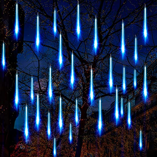 Solar Powered LED Meteor Shower Lights Falling Rain Icicle Lamp Christmas Decor