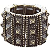 ACCESSORIESFOREVER Women Stylish Chic 3 Rows Spike Design Stretch Fashion Ring R221 Antique Gold