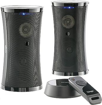 Altavoces inalámbricos exclusivos con Mando a Distancia y Sonido estéreo Envolvente (2 x 5 W RMS / 100 W PMPO/Plug&Play / IPX3 / 100 m de Alcance) para Interior y Exterior/sin Cables: Amazon.es: Electrónica