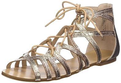 magasin en ligne f6d0c afb7e Pimkie Sandales plates lacets rose gold brillant Femme ...