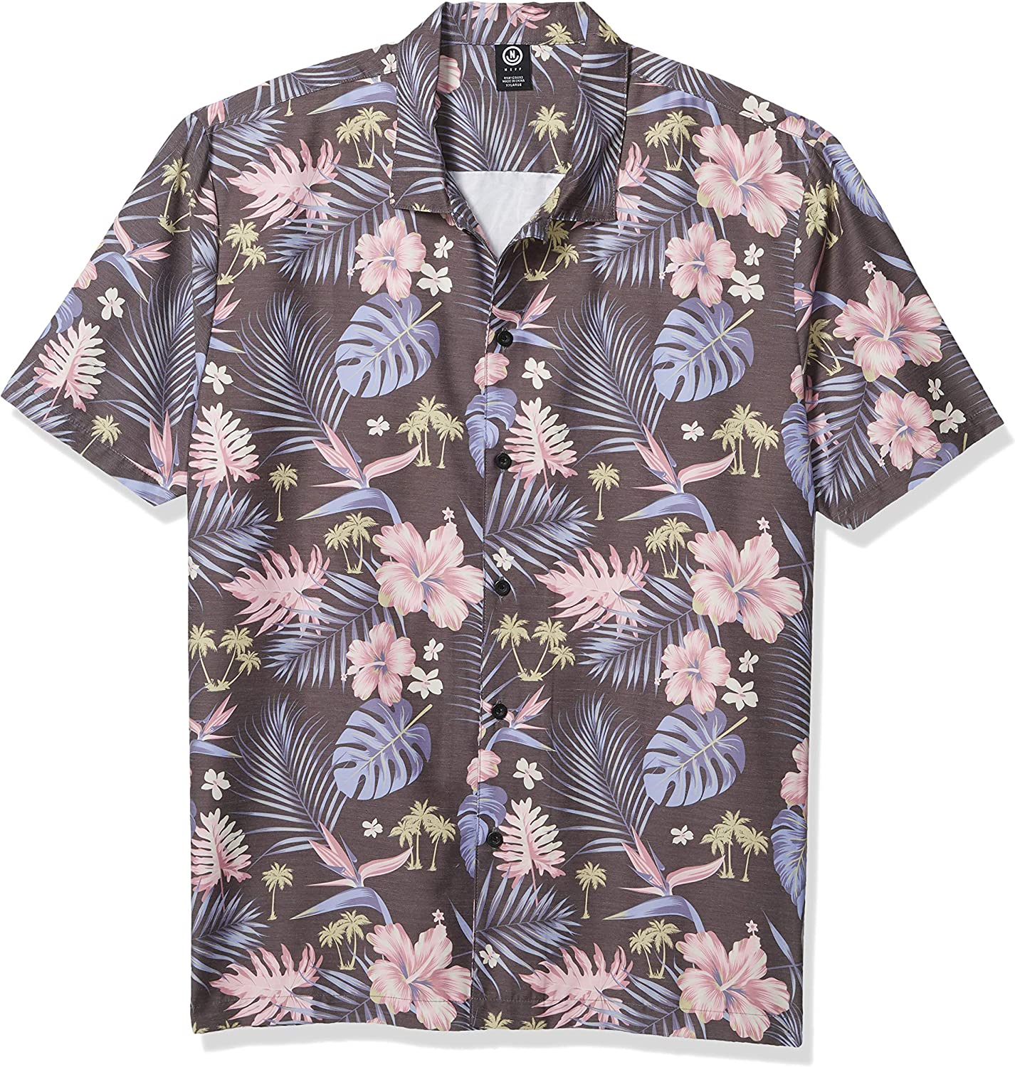 NEFF Men's Daily Button Up Hawaiian Style Patterned Pool Side Shirt