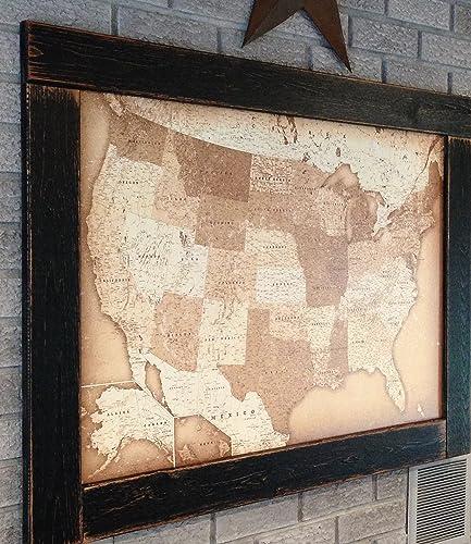 Amazoncom Push Pin Travel Map USA Map Framed Push Pin Map - Us map framed