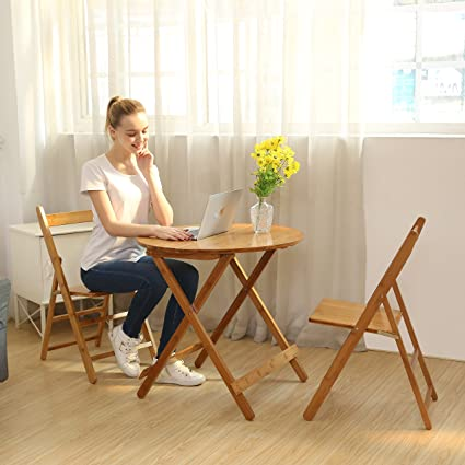 Amazon.com: UNICOO - Bamboo Round Folding Table With Two Folding ...