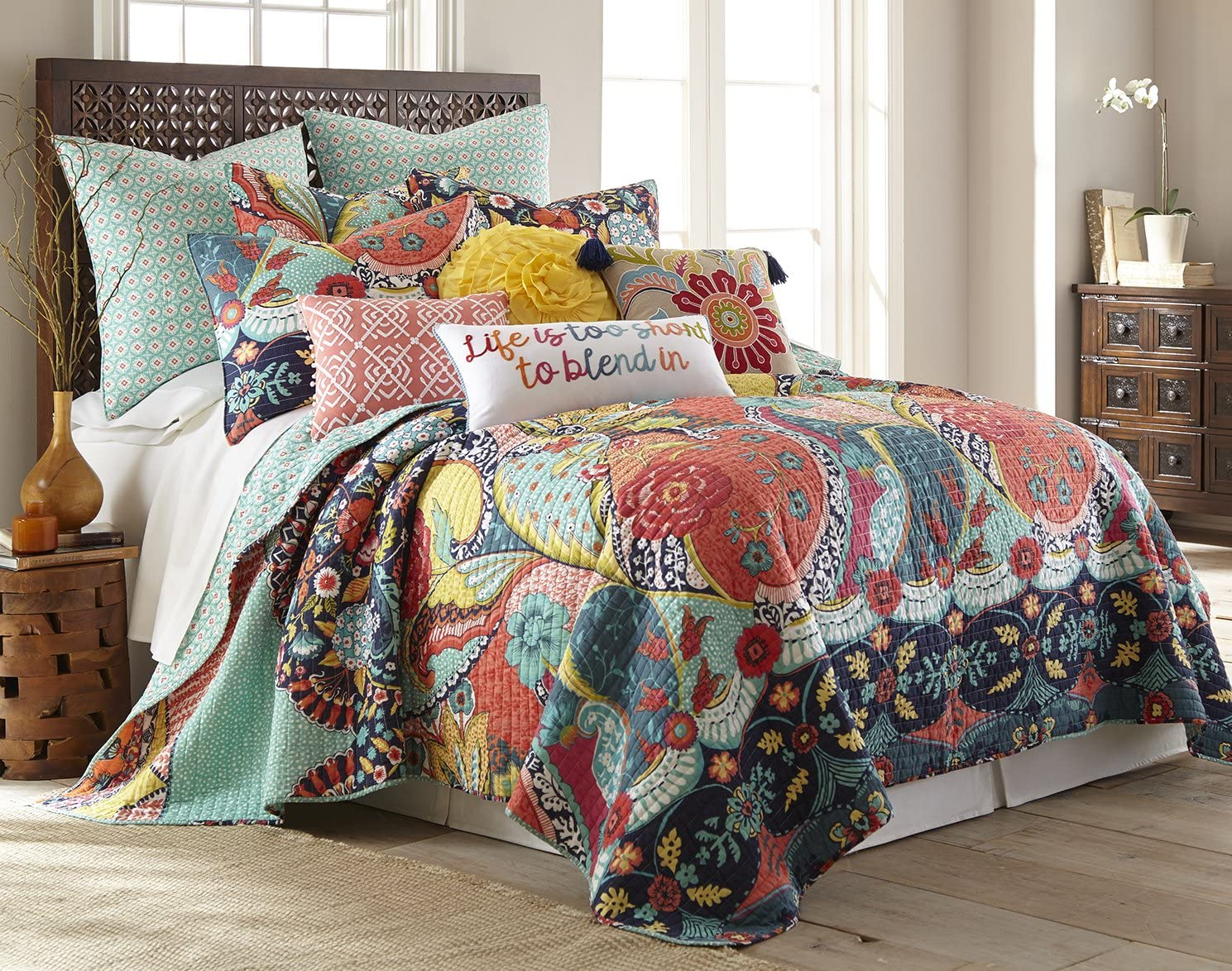 Levtex Jules King Quilt Set, Cotton, Multicolor