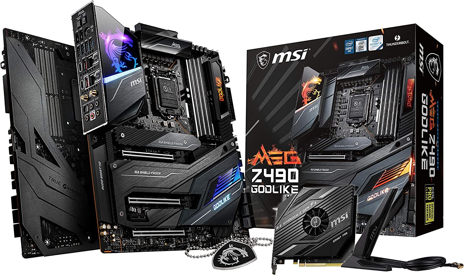 MSI MEG Z490 GODLIKE Gaming Motherboard (E-ATX, 10th Gen Intel Core, LGA 1200 Socket, DDR4, SLI/CF, Triple M.2 Slots, Thunderbolt 3 Type-C, Wi-Fi 6, Mystic Light RGB)