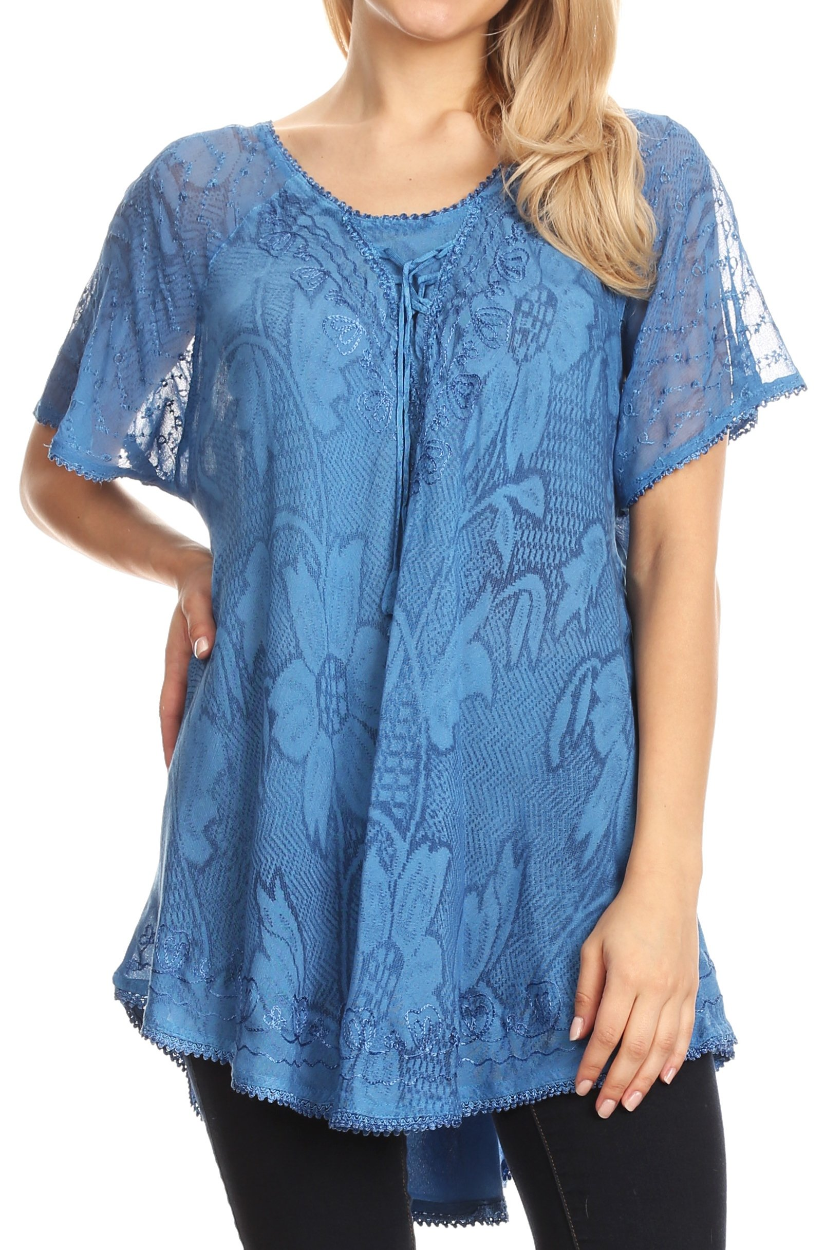 Sakkas 16788 - Maliky Wide Corset Neck Floral Embroidered Cap Sleeve Blouse Top Shirt - Blue - OSP