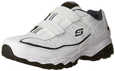 Skechers Sport Men's Afterburn Strike Memory Foam Velcro Sneaker,  White/Navy, ...
