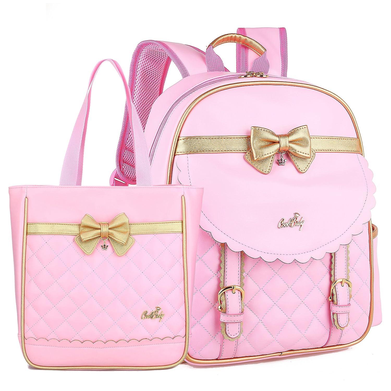 Prinzessin Schultaschen für Mädchen Große Kapazität Rucksack Schöne Kinder Satchel Handtasche 2 in 1 Rucksack Set (Rosa Keiner Set)