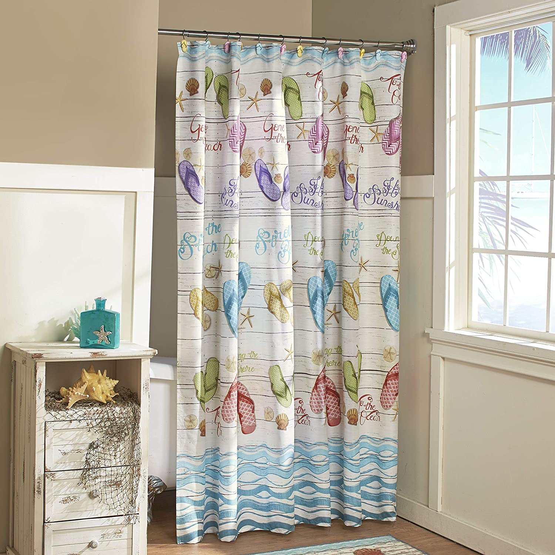 flip flops bathroom shower curtain with tropical beach themed accents