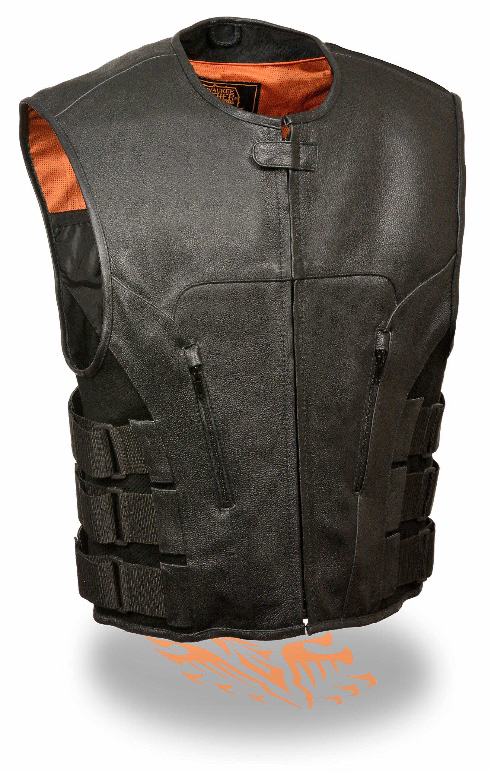 Milwaukee Leather Men's Bullet Proof Look Swat Vest w/ Single Panel Back & Dual Inside Gun Pockets (XX-Large)