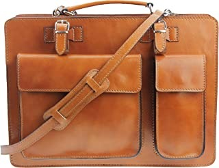 'Crown' Leather Teacher Bag Briefcase Shoulder Bag in Assorted Colours (40x30x10 WxHxD), Genuine Leather Made in Italy