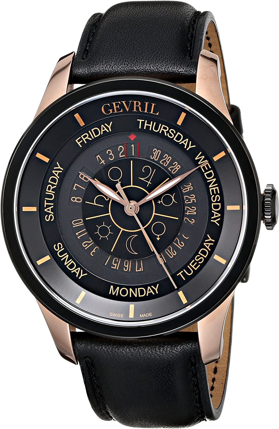 Gevril Columbus Circle Mens Swiss Automatic Black Leather Strap Watch, Model 2004