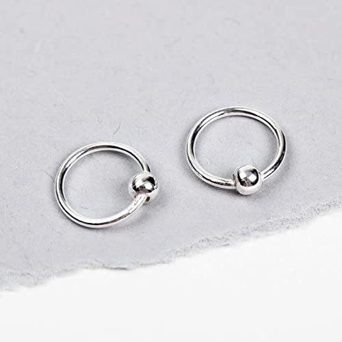 3eb00bc06648b Amazon.com: Small Sterling Silver Huggies Ball Hoop Earrings: Handmade