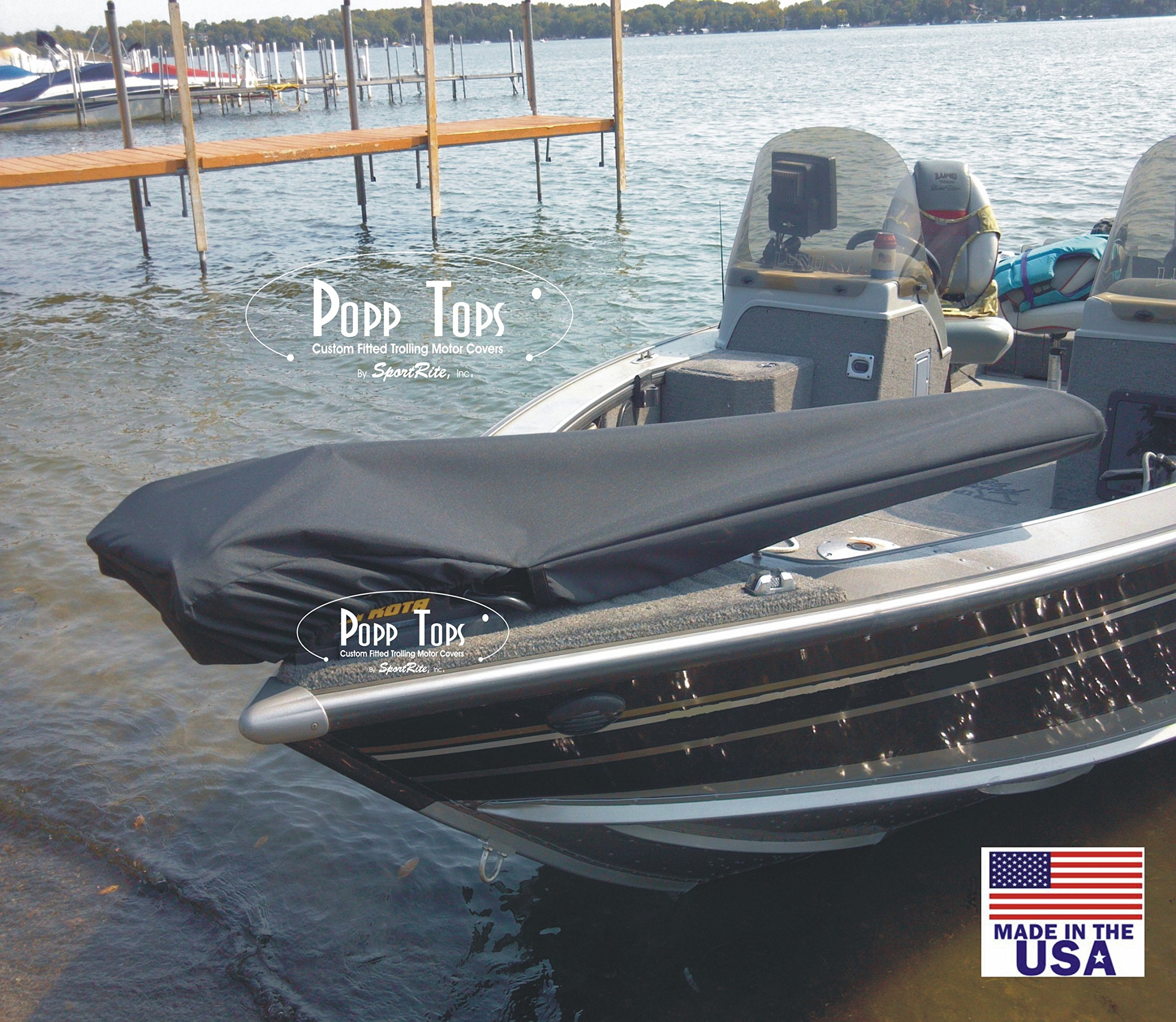 PoppTops Custom Covers Electric Trolling Motor Cover Fits Terrova w/Lift Assist and 54'' shaft. Black by Popp Tops Custom Covers