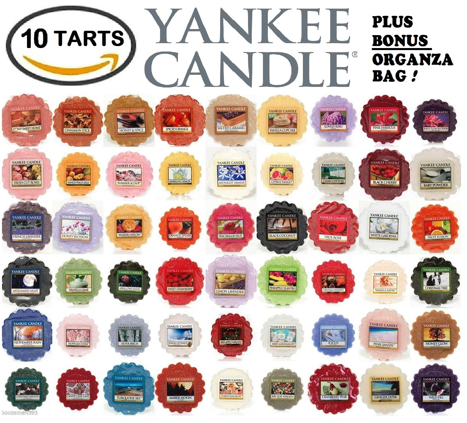 Yankee Candle Wax Tarts - Grab Bag of 10 Assorted Yankee Candle Wax Melts - Random Mixed Scents with BONUS yellow organza bag by Yankee Candle