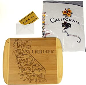 A Slice Of California State Bamboo Serving & Cutting Board Bundled with California Kitchen Towel
