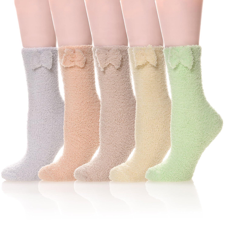 WENER Womens 5 pairs Super Soft Microfiber Fuzzy Winter Warm Slipper Home Socks
