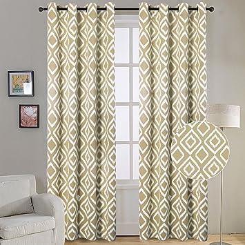 Rich Textured Woven Printed Light Block Ikat Fret Blackout Curtains Soft Grommet Top Energy Efficient Summer