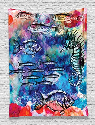 Ambesonne Fish Seahorse Coastal Decor Collection, Sea Creatures Watercolor Painting Effect Batik Print, Bedroom Living Kids Girls Boys Room Dorm Accessories Wall Hanging Tapestry, Navy Magenta Pink